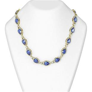68.5 ctw Tanzanite & Diamond Necklace 18K Yellow Gold -