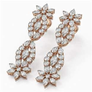 10 ctw Marquise Cut Diamond Designer Earrings 18K Rose