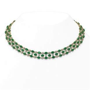 43.07 ctw Emerald & Diamond Necklace 10K Yellow Gold -