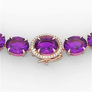 175 ctw Amethyst & Diamond Micro Eternity Necklace 14k