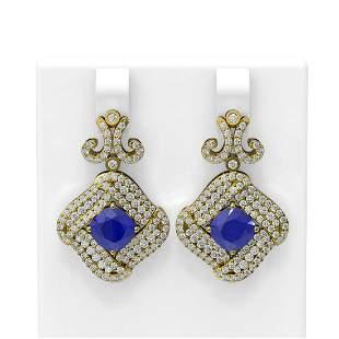 7.51 ctw Sapphire & Diamond Earrings 18K Yellow Gold -