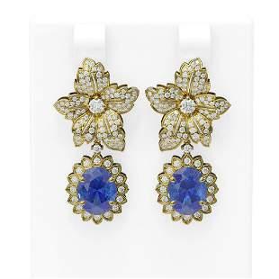 9.3 ctw Tanzanite & Diamond Earrings 18K Yellow Gold -