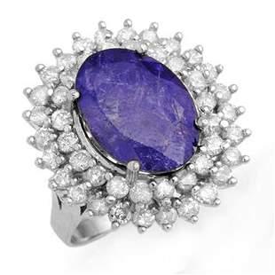8.78 ctw Tanzanite & Diamond Ring 18k White Gold -