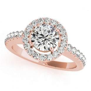 1.02 ctw Certified VS/SI Diamond Halo Ring 18k Rose