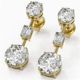 5 ctw Diamond Designer Earrings 18K Yellow Gold -