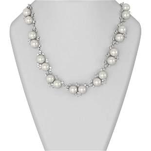23.5 ctw Diamond & Pearl Necklace 18K White Gold -