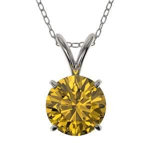 1.05 ctw Certified Intense Yellow Diamond Necklace 10k