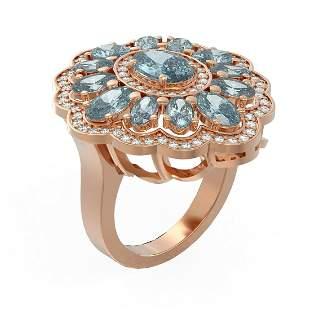 6.34 ctw Blue Topaz & Diamond Ring 18K Rose Gold -