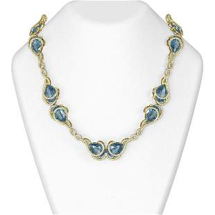 135.97 ctw Blue Topaz & Diamond Necklace 18K Yellow