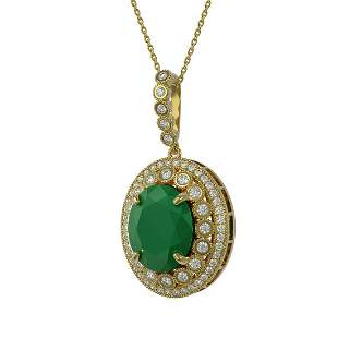 13.75 ctw Emerald & Diamond Victorian Necklace 14K