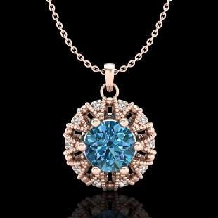 1.2 ctw Fancy Intense Blue Diamond Art Deco Necklace