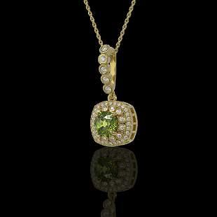 2.25 ctw Tourmaline & Diamond Victorian Necklace 14K