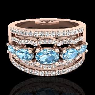 2.25 ctw Sky Blue Topaz & Micro Pave VS/SI Diamond Ring