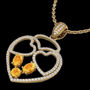 3 ctw Citrine & Micro Pave Designer Heart Necklace 14k