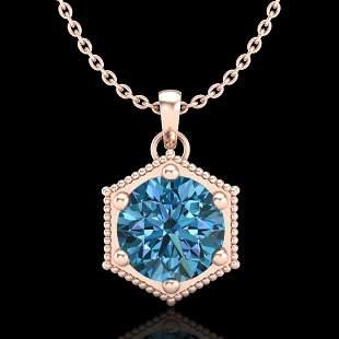 0.82 ctw Fancy Intense Blue Diamond Art Deco Necklace