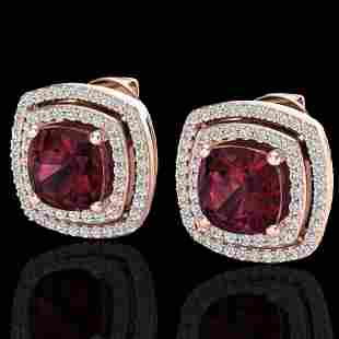 4.55 ctw Garnet & Micro Pave VS/SI Diamond Earrings 14k