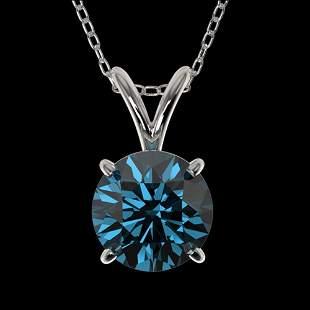 1.01 ctw Certified Intense Blue Diamond Necklace 10k