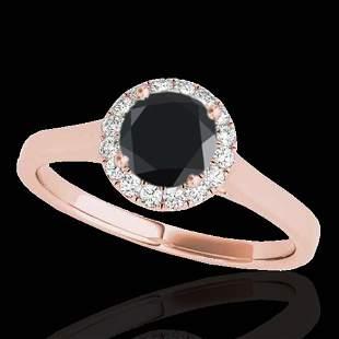 1.11 ctw Certified VS Black Diamond Solitaire Halo Ring