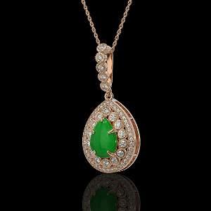 4.07 ctw Jade & Diamond Victorian Necklace 14K Rose