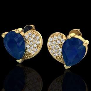 2.50 ctw Sapphire & Micro Pave VS/SI Diamond Earrings