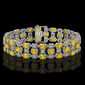 12.7 ctw Fancy Citrine & Diamond Row Bracelet 10K White