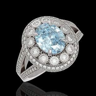 3.85 ctw Certified Aquamarine & Diamond Victorian Ring
