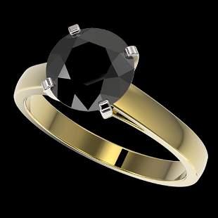2.50 ctw Fancy Black Diamond Solitaire Engagement Ring
