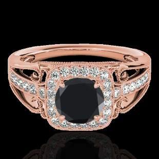 1.3 ctw Certified VS Black Diamond Solitaire Halo Ring