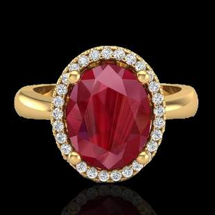3 ctw Ruby And Micro Pave VS/SI Diamond Certified Ring