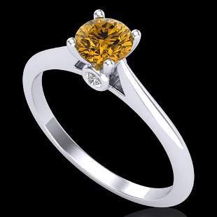 0.56 ctw Intense Fancy Yellow Diamond Art Deco Ring 18k