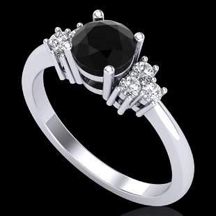 1 ctw Fancy Black Diamond Engagement Ring 18K White