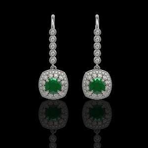 5.1 ctw Certified Emerald & Diamond Victorian Earrings