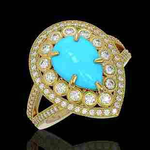 4.02 ctw Turquoise & Diamond Victorian Ring 14K Yellow