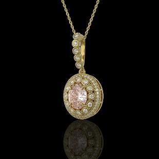 3.92 ctw Morganite & Diamond Victorian Necklace 14K