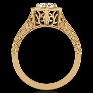 0.77 ctw VS/SI Diamond Art Deco Ring 18k Yellow Gold -