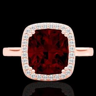 3 ctw Garnet & Micro Pave VS/SI Diamond Certified Ring