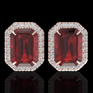 12 ctw Garnet & Micro Pave VS/SI Diamond Earrings 14k