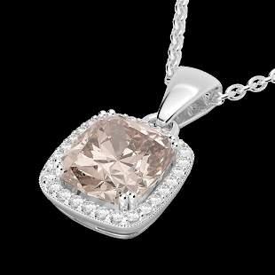 3 ctw Morganite & Micro VS/SI Diamond Pave Necklace 18k