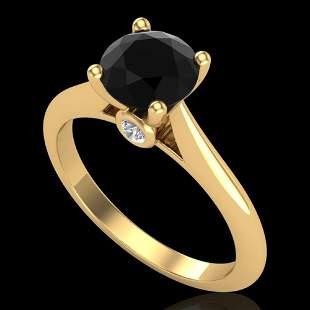 1.36 ctw Fancy Black Diamond Engagment Art Deco Ring