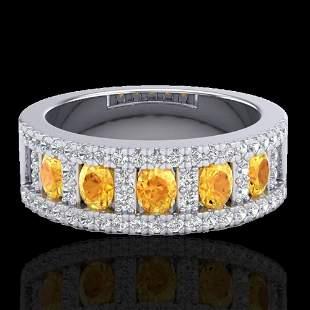 2 ctw Citrine & Micro VS/SI Diamond Ring 10K White Gold