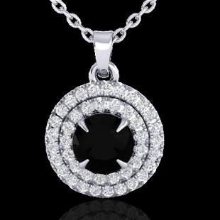 1 ctw Micro Pave VS/SI Diamond Certified Necklace Halo