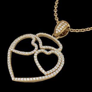 1.20 ctw Micro Pave VS/SI Diamond Heart Necklace 14k