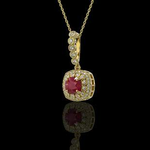 2.55 ctw Certified Ruby & Diamond Victorian Necklace