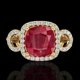 3.15 ctw Ruby & Micro VS/SI Diamond Certified Ring 18k