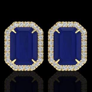 14 ctw Sapphire & Micro Pave VS/SI Diamond Earrings 18k