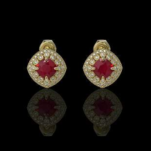 4.99 ctw Certified Ruby & Diamond Victorian Earrings