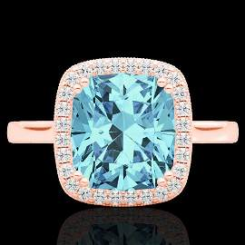 3.50 ctw Sky Blue Topaz & Micro VS/SI Diamond Halo Ring