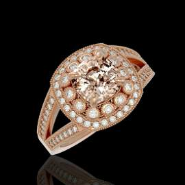 2.29 ctw Certified Morganite & Diamond Victorian Ring