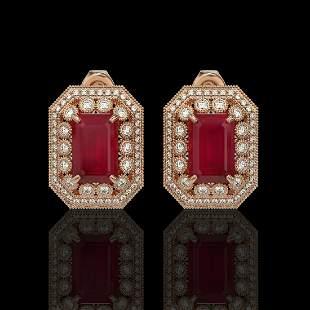 13.75 ctw Certified Ruby & Diamond Victorian Earrings