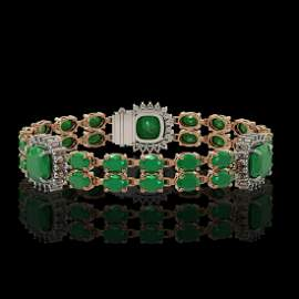 21.83 ctw Emerald & Diamond Bracelet 14K Rose Gold -